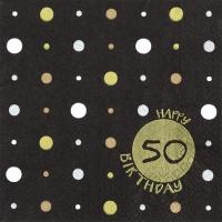 Servilletas 33x33 cm - Happy Birthday 50 gold