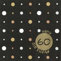 Servilletas 33x33 cm - Happy Birthday 60 gold