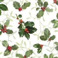 Napkins 25x25 cm - Ilex and Mistletoe