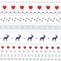 Serviettes 33x33 cm - Winter Pattern white