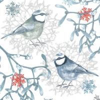 Napkins 33x33 cm - Blue Chickadees