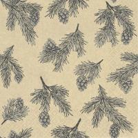 Serviettes 33x33 cm - Pine Cones grey