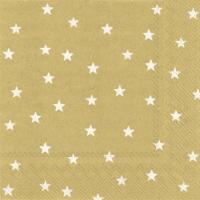Serviettes 25x25 cm - LITTLE STARS gold white