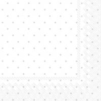 Serviettes 25x25 cm - FINE DOTS white silver
