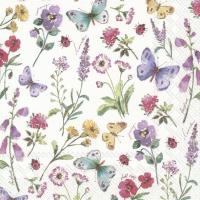 Servietten 25x25 cm - SUMMER FLOWERS white