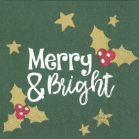 Serviettes 25x25 cm - MERRY AND BRIGHT green