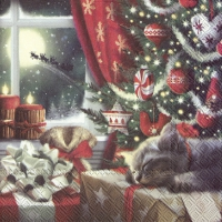 Serviettes 25x25 cm - CAT IS WAITING FOR CHRISTMAS