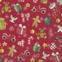 Serviettes 25x25 cm - FESTIVE CHRISTMAS TOYS red