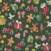 Serviettes 25x25 cm - FESTIVE CHRISTMAS TOYS green