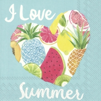 Serwetki 25x25 cm - I LOVE SUMMER turquoise