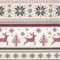 Napkins 25x25 cm - NORWEGIAN KNIT cream red