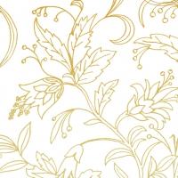 Napkins 25x25 cm - GOLDEN FLOWER white gold