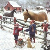 Servietten 25x25 cm - WINTER HORSE