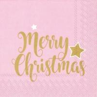 Napkins 33x33 cm - SHINY MERRY CHRISTMAS lig. ros