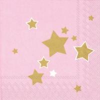 Napkins 33x33 cm - SHINY STARS light rose