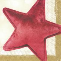 Napkins 33x33 cm - VELVET STAR red gold