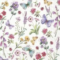 Napkins 33x33 cm - SUMMER FLOWERS white