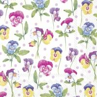 Serviettes 33x33 cm - PURPLE PANSY light lilac