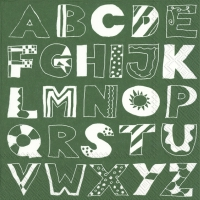 Napkins 33x33 cm - ALPHABET ABC green