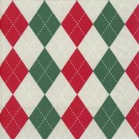 Servietten 33x33 cm - CLASSICAL red green