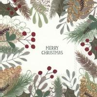 Serviettes 33x33 cm - NATURAL MERRY CHRISTMAS