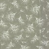 Napkins 33x33 cm - MISTLETOE ALLOVER grey