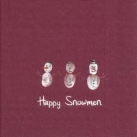 Servilletas 33x33 cm - HAPPY SNOWMEN red