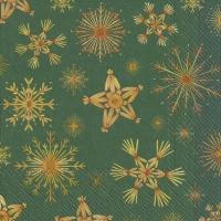 Napkins 33x33 cm - STRAW STARS green