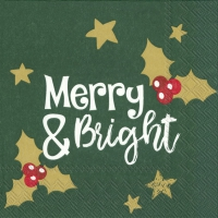 Napkins 33x33 cm - MERRY AND BRIGHT green