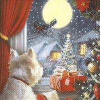 Servilletas 33x33 cm - DOG IS WAITING FOR CHRISTMAS