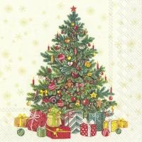 Servilletas 33x33 cm - FESTIVE CHRISTMAS TREE cream