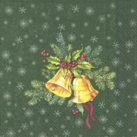 Napkins 33x33 cm - FESTIVE CHRISTMAS BELLS green