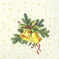 Serwetki 33x33 cm - FESTIVE CHRISTMAS BELLS cream