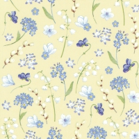 Napkins 33x33 cm - FLOWERS IN SPRING yellow