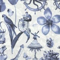 Napkins 33x33 cm - BLUE THINGS blue grey