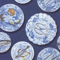 Tovaglioli 33x33 cm - SEAFOOD ON A PLATE blue