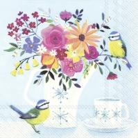 Napkins 33x33 cm - POT FLOWERS light blue