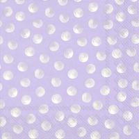 Napkins 33x33 cm - PIGGY DOTS lavender