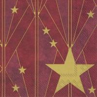 Servietten 33x33 cm - ARTDECO BIG STAR red