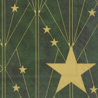 Servietten 33x33 cm - ARTDECO BIG STAR green