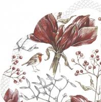 Napkins - Round - WINTER AMARYLLIS white