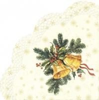 Napkins - Round - FESTIVE CHRISTMAS BELLS cream