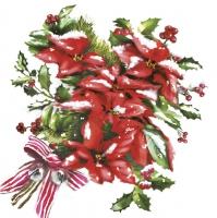 Servilletas 33x33 cm - Red Christmas Poinsettia Bouquet