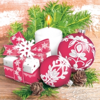 Napkins 33x33 cm - Festive Red and White with Candle