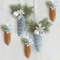 Serviettes 33x33 cm - Natural and Blue Spruce Cones