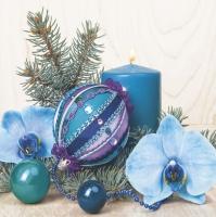 Serviettes 33x33 cm - Turquoise Composition with Orchid
