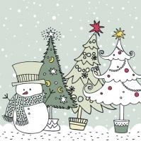 Servilletas 33x33 cm - Graphic Snowman and Xmas Trees