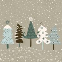 Serwetki 33x33 cm - Snowy Eco Forest on Kraft