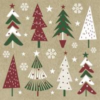 Serwetki 33x33 cm - Christmas Trees on Kraft