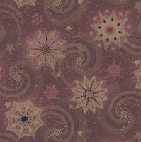 Serviettes 33x33 cm - Gold & Red Stars and Twirls on Claret